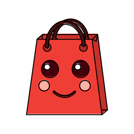 christmas kawaii shop bag character comic vector illustration