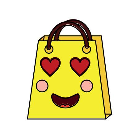 Christmas kawaii shop bag character comic vector illustration Stock Vector - 93332984