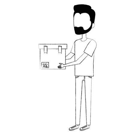 Man with box avatar vector illustration design