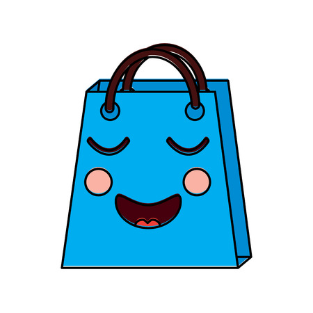 A christmas kawaii shop bag character comic vector illustration