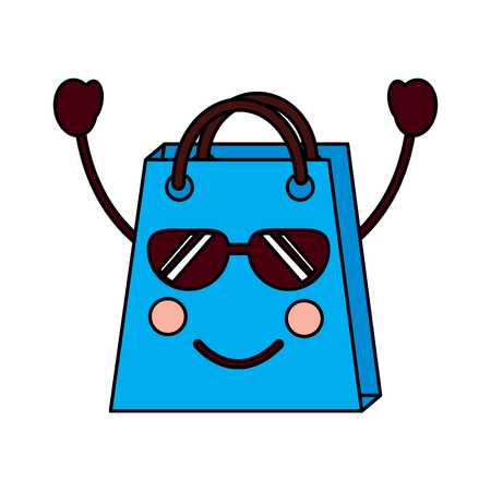 christmas shop bag character comic vector illustration Stock Vector - 93347254