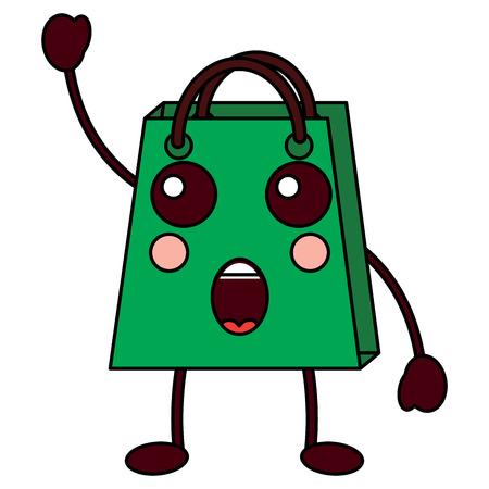Christmas kawaii shop bag character comic vector illustration Stock Vector - 93333027