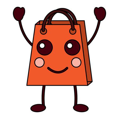 christmas shop bag character comic vector illustration Stock Vector - 93409308