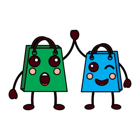 two shop bag cartoon character vector illustration