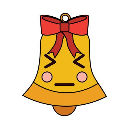 kawaii christmas jingle bell cartoon vector illustration Illustration