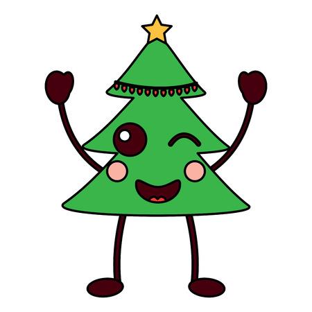 christmas tree cartoon happy vector illustration Illustration