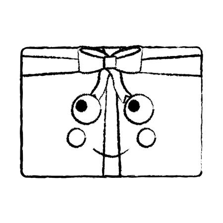 gift box cartoon facial expression vector illustration sketch design