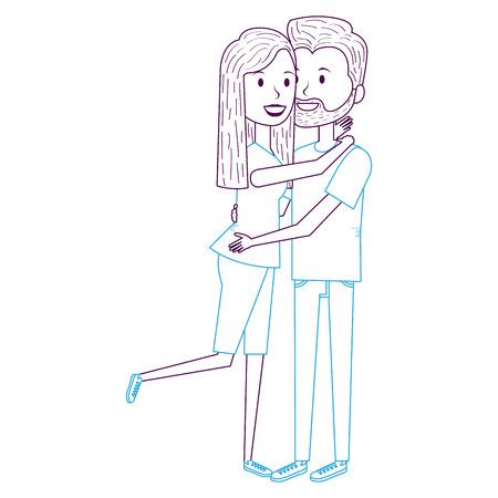 paar verliefd omarmd vector illustratie ontwerp Stock Illustratie