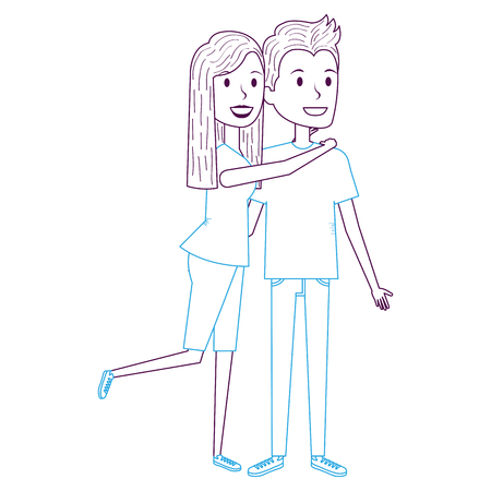 couple in love embraced vector illustration design 向量圖像