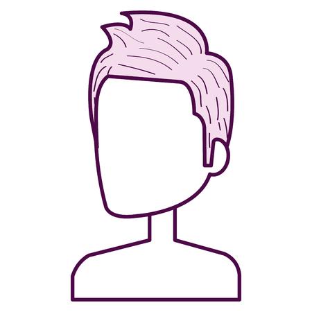 Young man shirtless avatar character vector illustration design. Çizim