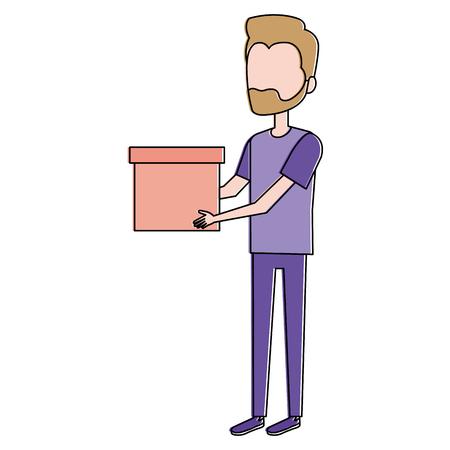 Uomo con progettazione dell'illustrazione di vettore dell'avatar della scatola Archivio Fotografico - 93362555
