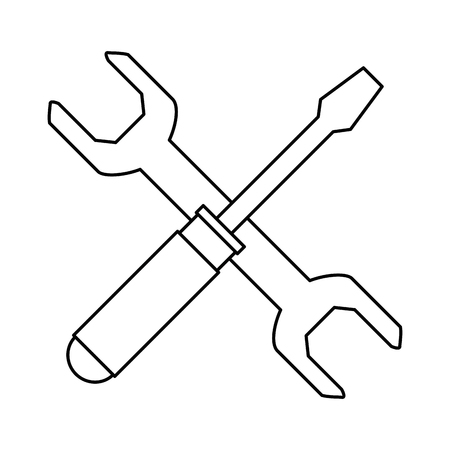 wrench and screwdriver tool isolated icon vector illustration design Illusztráció