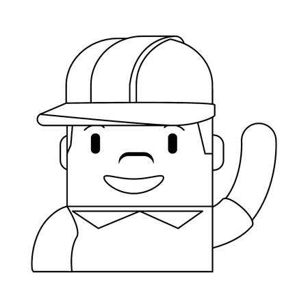 Happy builder avatar character vector illustration design.
