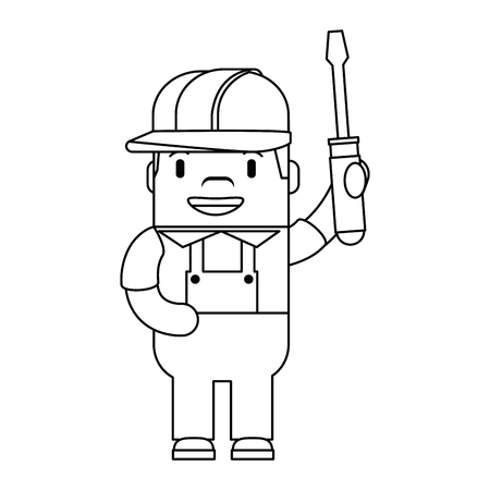 Funny builder with screwdriver. Avatar character vector illustration design.