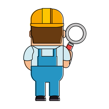 funny builder with magnifying glass avatar character vector illustration design Иллюстрация