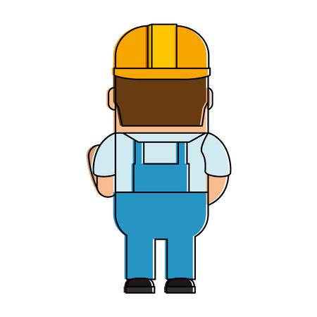 Funny builder avatar character. Vector illustration design. Иллюстрация