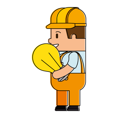 Happy builder with bulb avatar character vector illustration design.