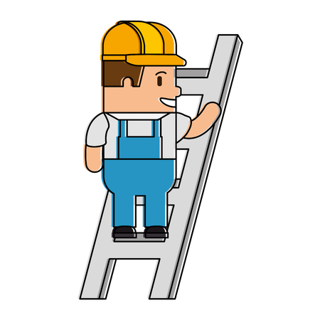 Happy builder in stairs avatar character vector illustration design.
