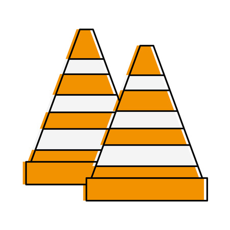 construction cones isolated icon vector illustration design
