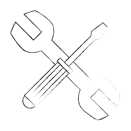 wrench and screwdriver tool isolated icon vector illustration design Ilustração