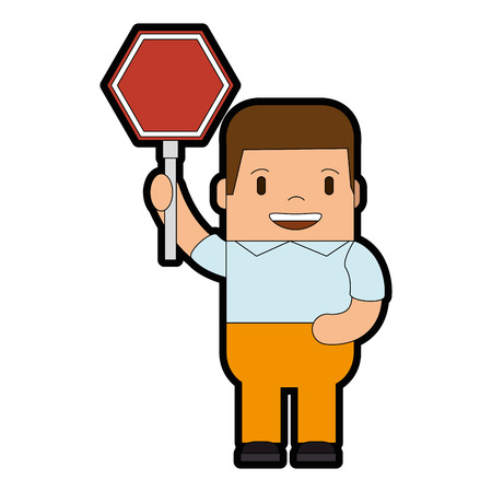 funny man with traffic signal avatar character vector illustration design