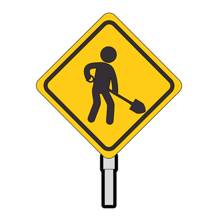 construction traffic signal with worker vector illustration design