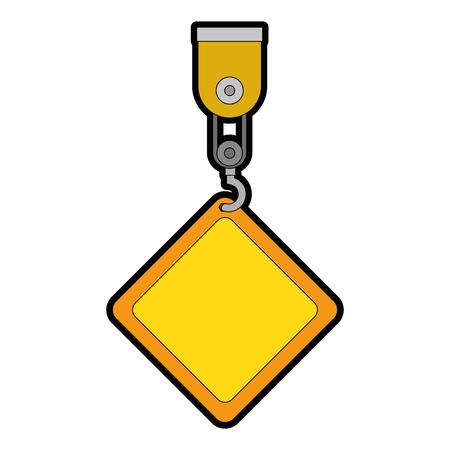 construction label hanging in crane vector illustration design