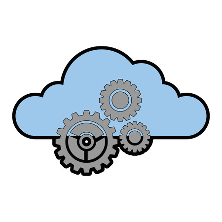 cloud with gears icon vector illustration design