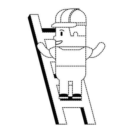 funny builder in stairs avatar character vector illustration design
