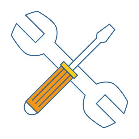 렌치 및 드라이버 도구 격리 아이콘 벡터 일러스트 레이 션 디자인