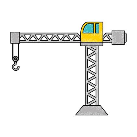 Grue de construction tour icône illustration vectorielle conception Banque d'images - 93398062