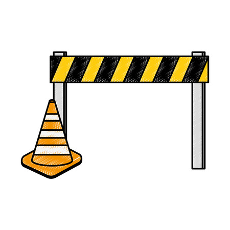 Construction fence with cone vector illustration design