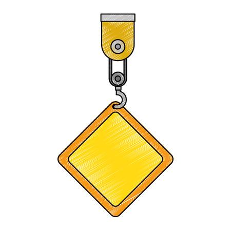 Construction label hanging in crane vector illustration design Illustration