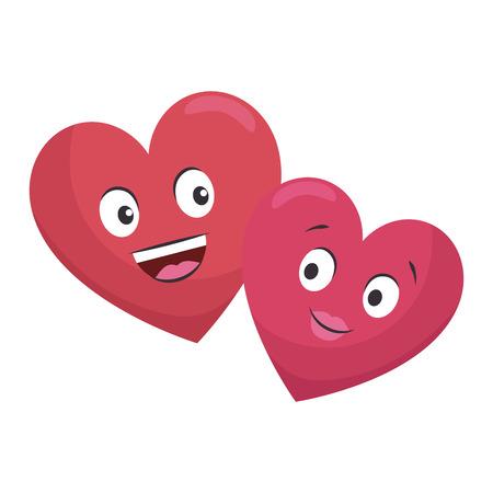 Hearts couple kawaii characters vector illustration design