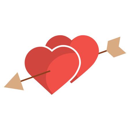 矢印ロマンチックな愛のベクトルイラストで突き刺さった2つの心