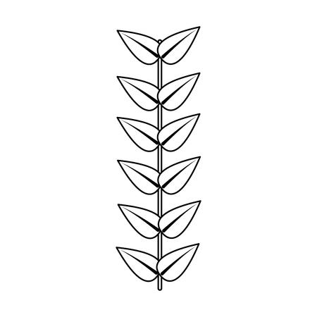 branch leaves stem bloom image vector illustration outline Illustration