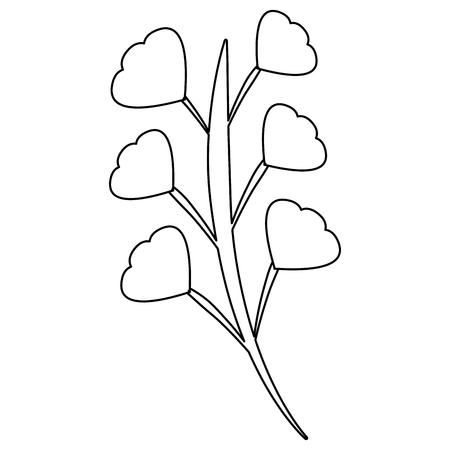 ramo folhas haste flor imagem vector ilustração contorno Ilustración de vector