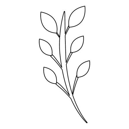 ramo folhas haste flor imagem vector ilustração contorno
