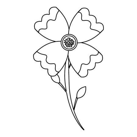 flower stem leaves bloom floral ornament image vector illustration outline Illustration