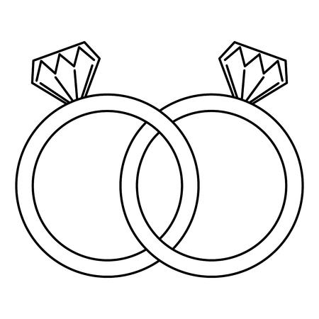 anéis de casamento jóias diamantes unidade vector ilustração contorno