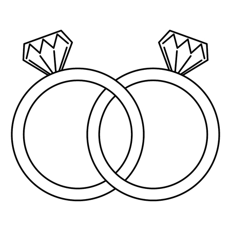 wedding rings jewelry diamonds unity vector illustration outline Banco de Imagens - 93415439
