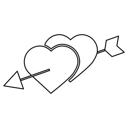 矢印ロマンチックな愛ベクトルイラストの輪郭を突き刺した2つの心
