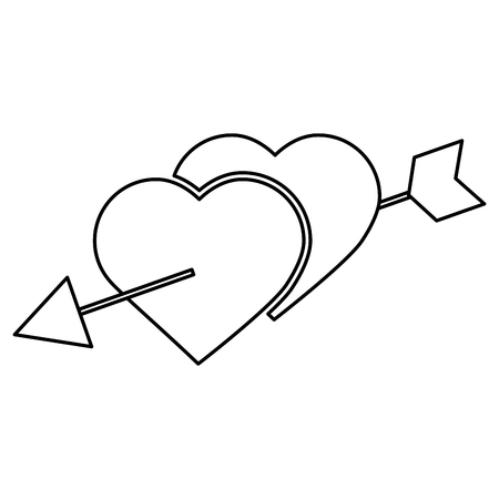 two hearts pierced with arrow romantic love vector illustration outline