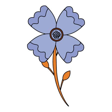 flower stem leaves bloom floral ornament image vector illustration Illustration