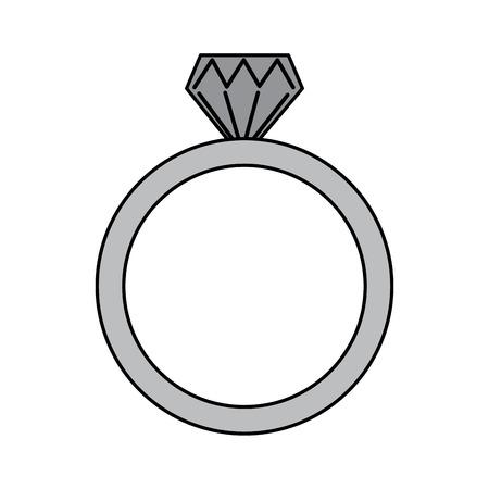 wedding ring icon diamond ring jewelry vector illustration Ilustração