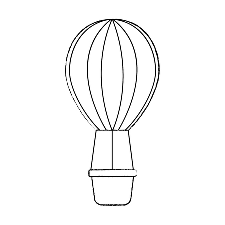 hot air balloon icon image vector illustration design  black sk
