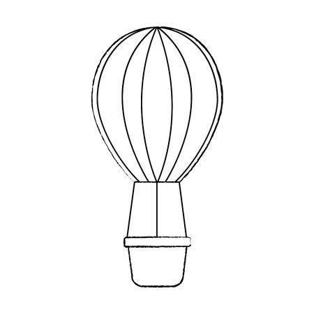 hot air balloon icon image vector illustration design  black sk