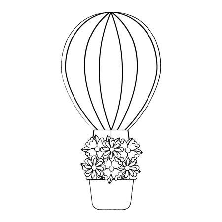 花のアイコン画像と熱気球。●ベクトルイラストデザインはブラック。  イラスト・ベクター素材