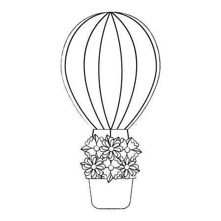 Hot air balloon with flowers icon image. Vector illustration design black. Illustration