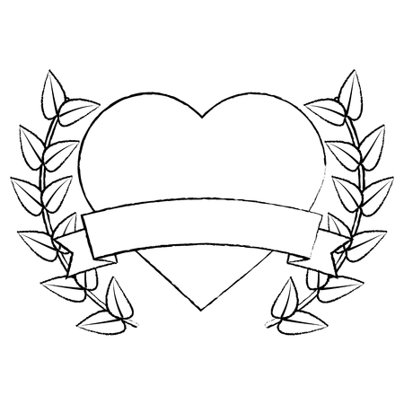 heart cartoon emblem with laurel wreath valentines day icon image vector illustration design.